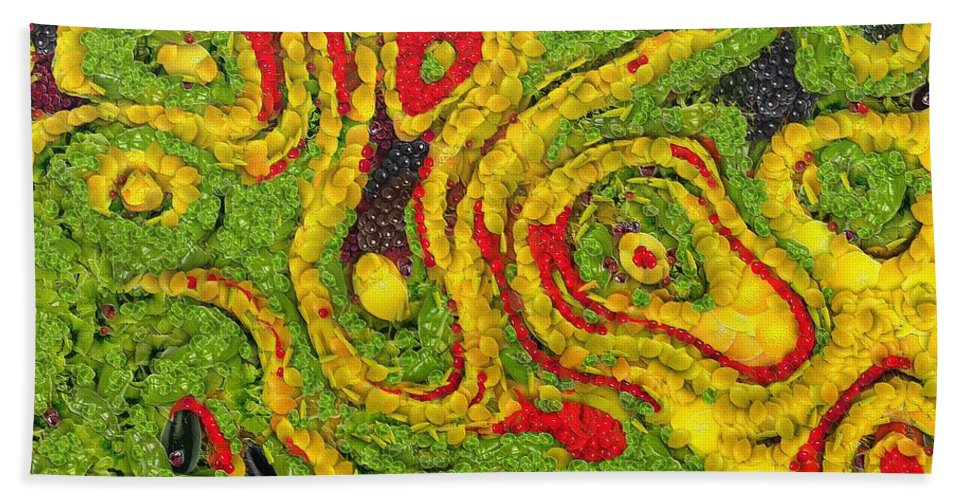 Abstract Beach Towel featuring the painting Incubus by Dragica Micki Fortuna
