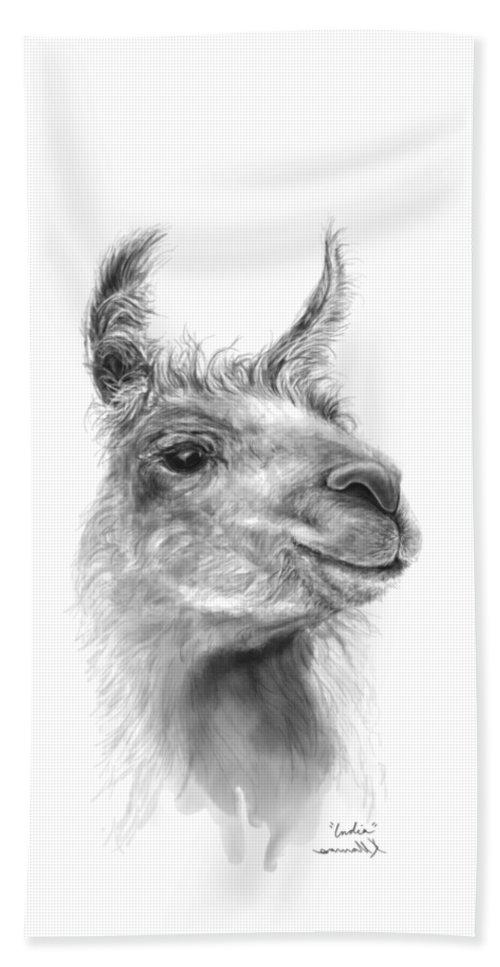 #artshow #artist #blackandwhite #modernart #contemporary #linkinbio #animal #farm #artexhibit #design #interiordesign #printsavailable #gift #llamas #llamasofinstagram #fineart #drawing #artprints #nashvilleartist #home #shop #decor #llamalove #llamalife #llamaart Beach Towel featuring the drawing India by K Llamas