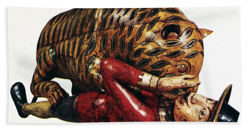 18th Century Beach Towel featuring the photograph India: Tiger Attack by Granger