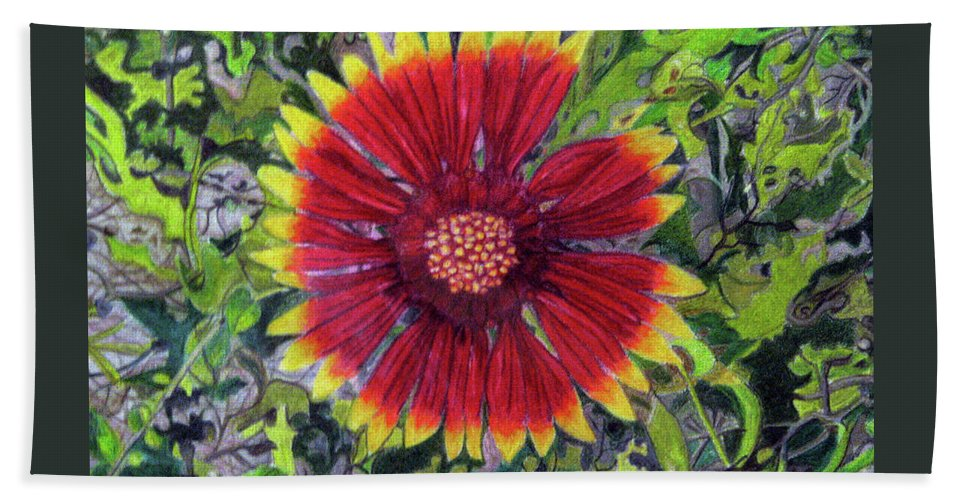 Fuqua - Artwork Beach Towel featuring the drawing Indian Blanket by Beverly Fuqua