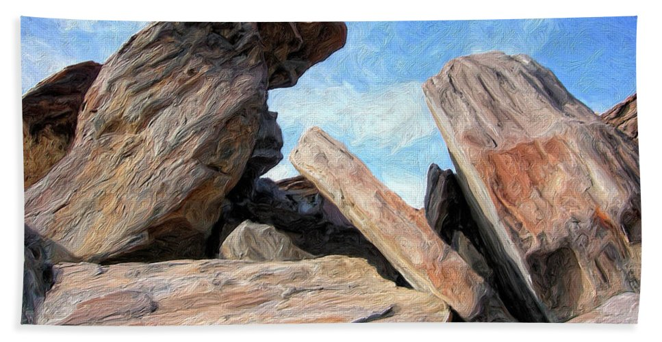 Rocks Beach Towel featuring the painting Indian Canyon Rocks by Dominic Piperata