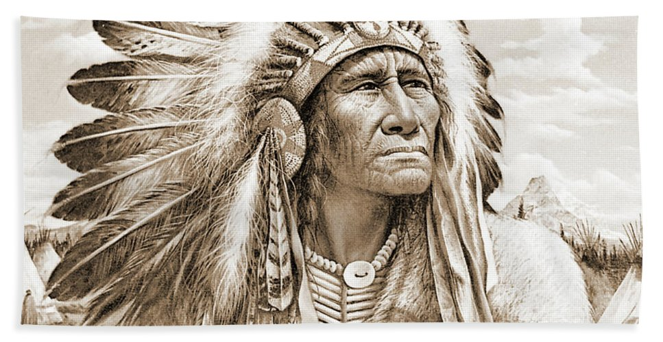 Native Beach Towel featuring the photograph Indian Chief With Headdress by Gary Wonning