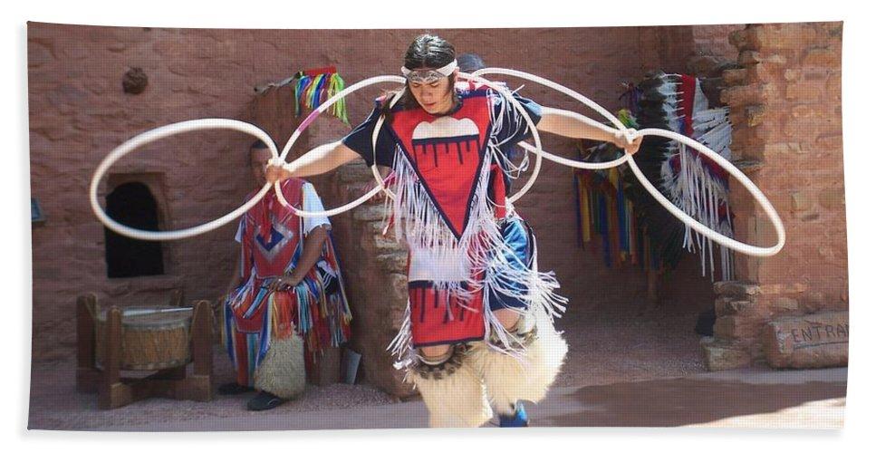 Indian Dancer Beach Sheet featuring the photograph Indian Hoop Dancer by Anita Burgermeister