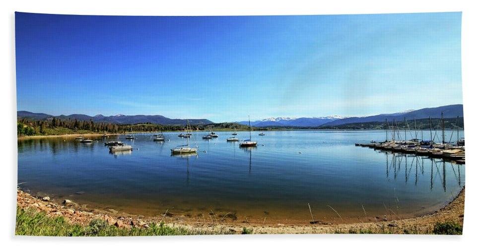Lake Granby Beach Towel featuring the photograph Indian Peaks Marina Pano by Judy Vincent
