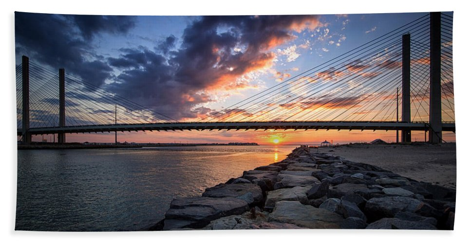 Indian River Bridge Beach Towel featuring the photograph Indian River Inlet And Bay Sunset by Bill Swartwout Fine Art Photography