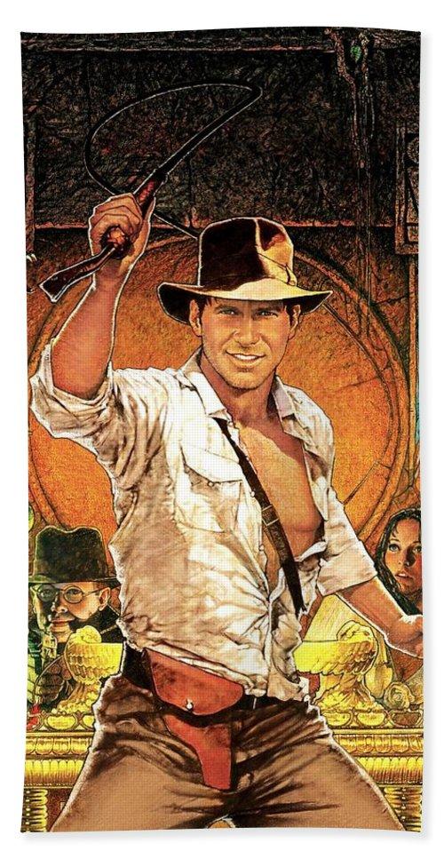 Indiana Jones Raiders Of The Lost Ark 1981 Beach Towel featuring the digital art Indiana Jones Raiders Of The Lost Ark 1981 by Geek N Rock