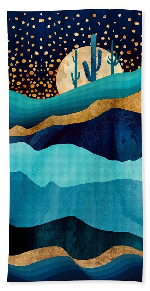 Indigo Beach Towel featuring the digital art Indigo Desert Night by Spacefrog Designs