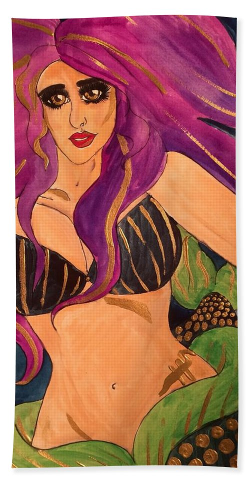 Mermaid Beach Towel featuring the painting Indigo by Hanna Szafranski