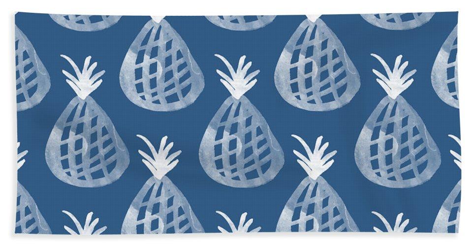 Indigo Beach Towel featuring the mixed media Indigo Pineapple Party by Linda Woods