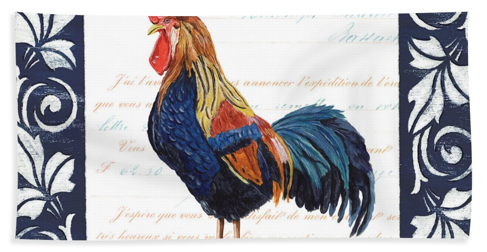 Rooster Beach Towel featuring the painting Indigo Rooster 2 by Debbie DeWitt