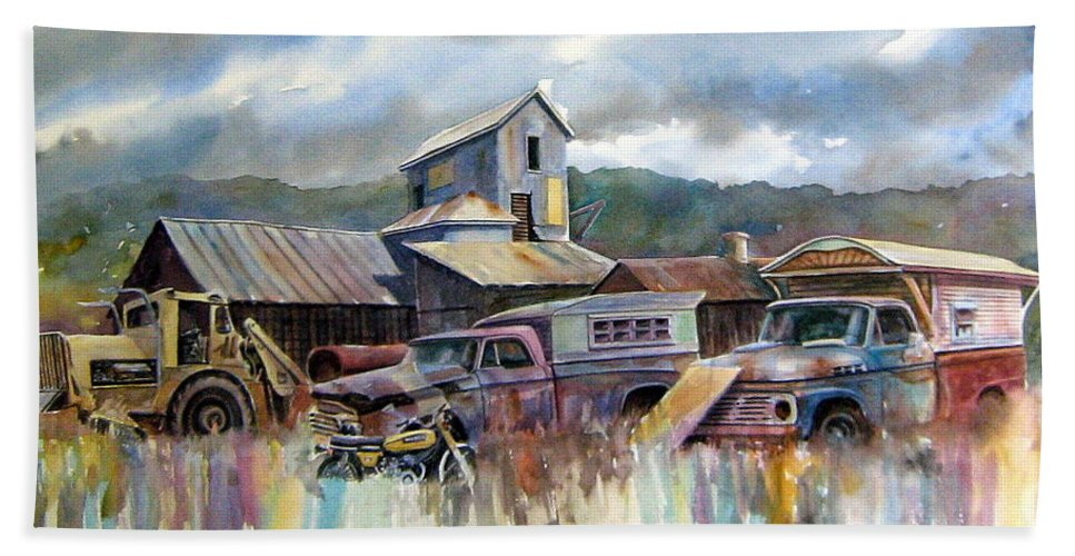 Trucks Beach Towel featuring the painting Industrial Recreation Park by Ron Morrison