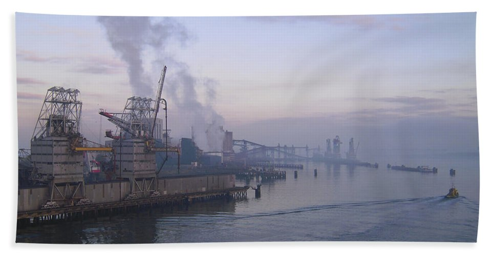 Aqua Beach Towel featuring the photograph Industrial by Svetlana Sewell