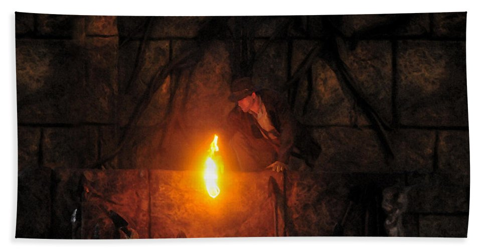Indiana Jones Beach Towel featuring the painting Indy's Find by David Lee Thompson