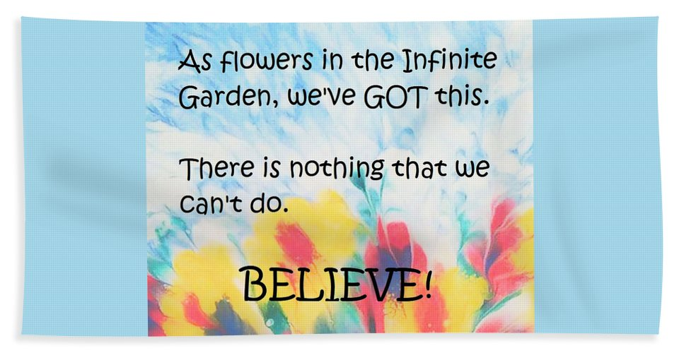 Original Beach Towel featuring the mixed media Infinite Garden Affirmation by Diana Robbins