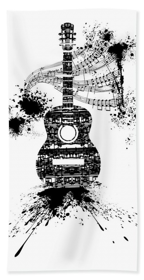 Inked Guitar Transparent Background Beach Towel For Sale By Barbara St Jean