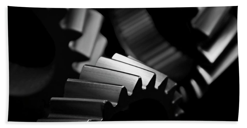 Gears Beach Towel featuring the photograph Inner Workings Black And White by Chris Fleming