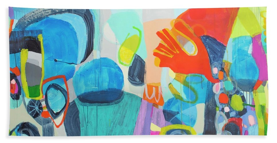 Abstract Beach Towel featuring the painting Insatiable by Claire Desjardins