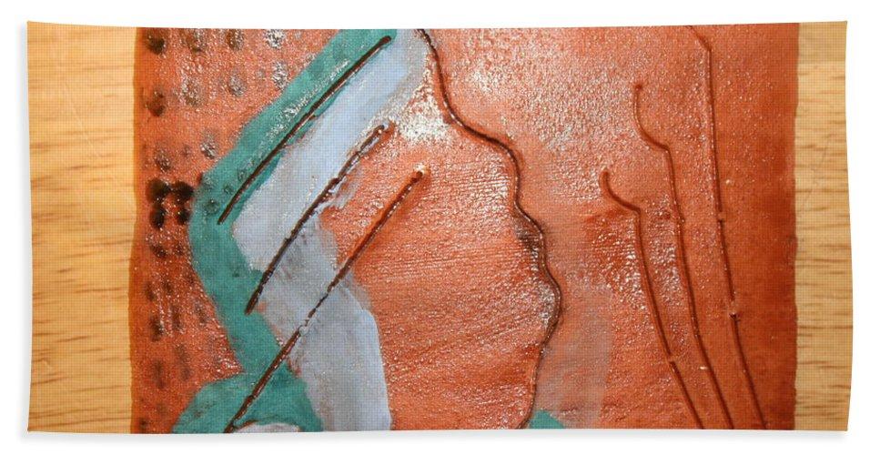 Jesus Beach Towel featuring the ceramic art Inside - Tile by Gloria Ssali