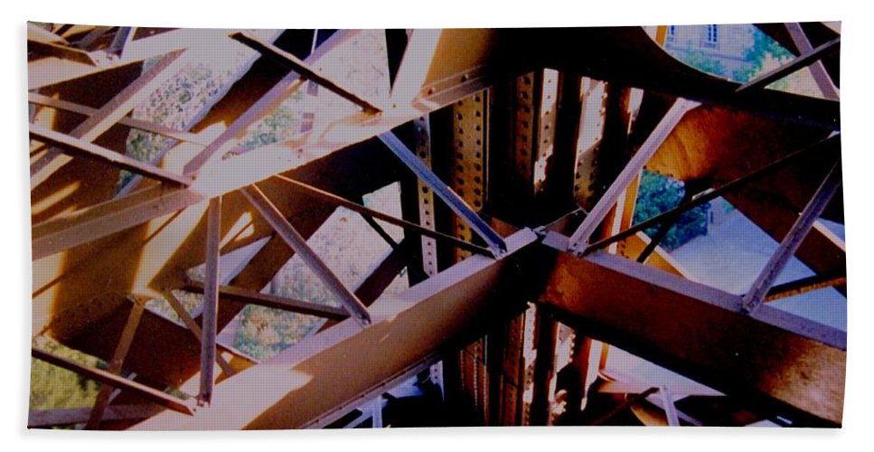 Eiffel Beach Towel featuring the photograph Inside Eiffel by Ian MacDonald