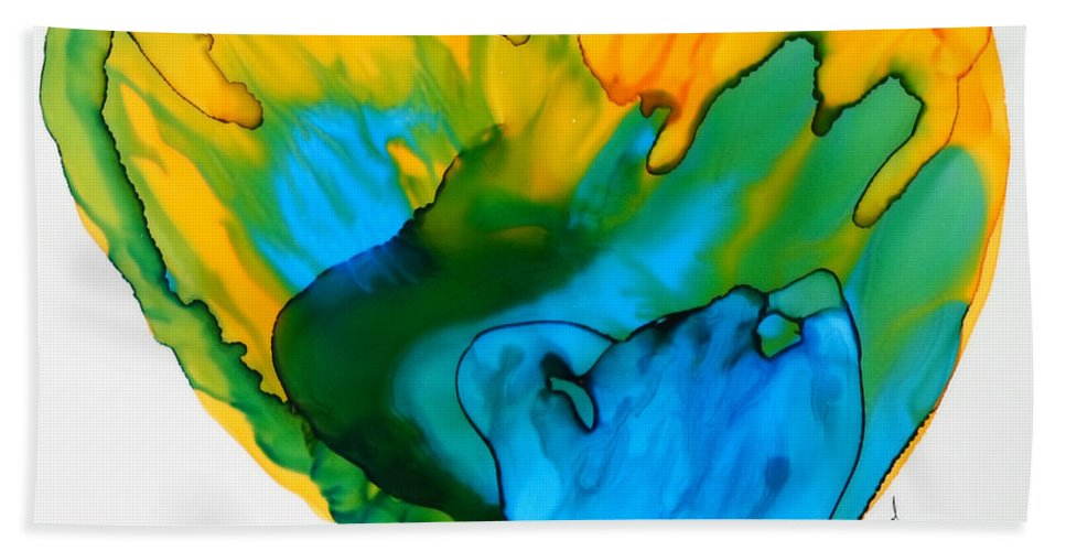 Alcohol Ink Beach Towel featuring the painting Inside My Heart 3 by Vicki Housel