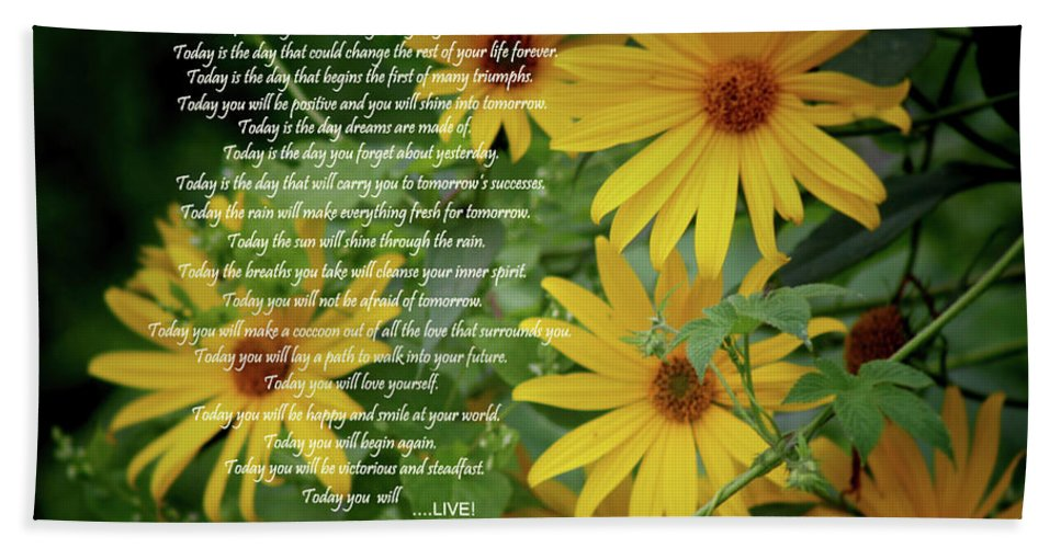 Sports Beach Towel featuring the digital art Inspiration For Today Floral by Cathy Beharriell