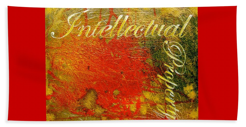 Abstract Art Beach Towel featuring the painting Intellectual Property by Laura Pierre-Louis