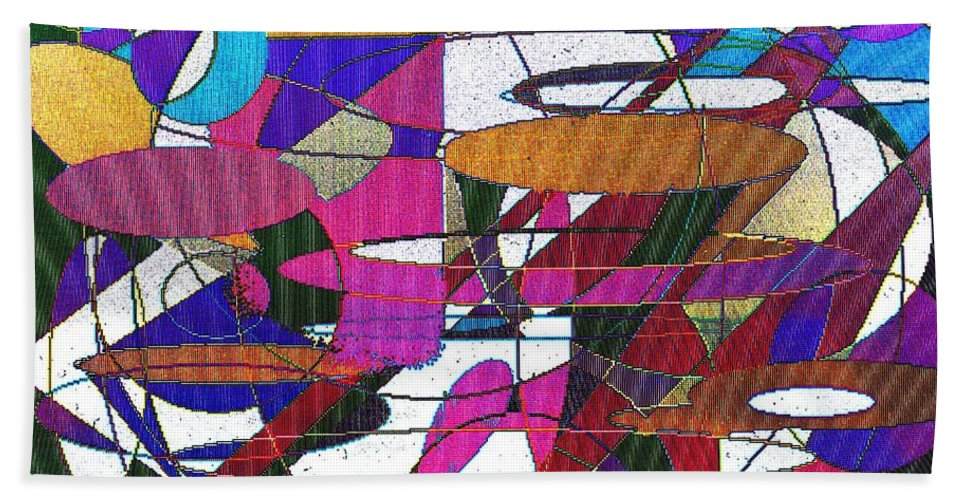 Abstract Beach Towel featuring the digital art Intergalatic by Ian MacDonald