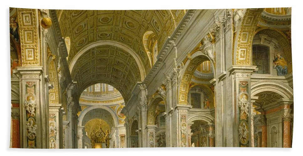 Interior Beach Towel featuring the painting Interior Of St. Peter's - Rome by Giovanni Paolo Panini