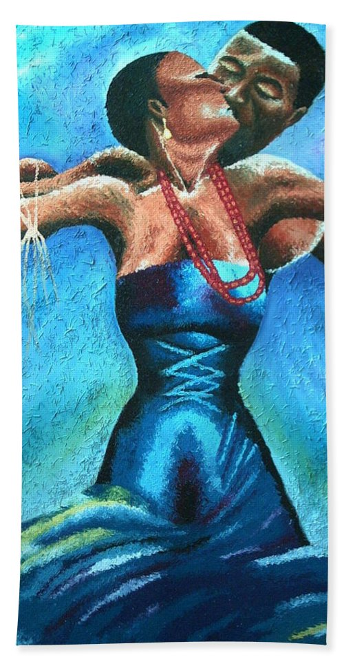 Painting Beach Towel featuring the painting Intertwined by Olaoluwa Smith