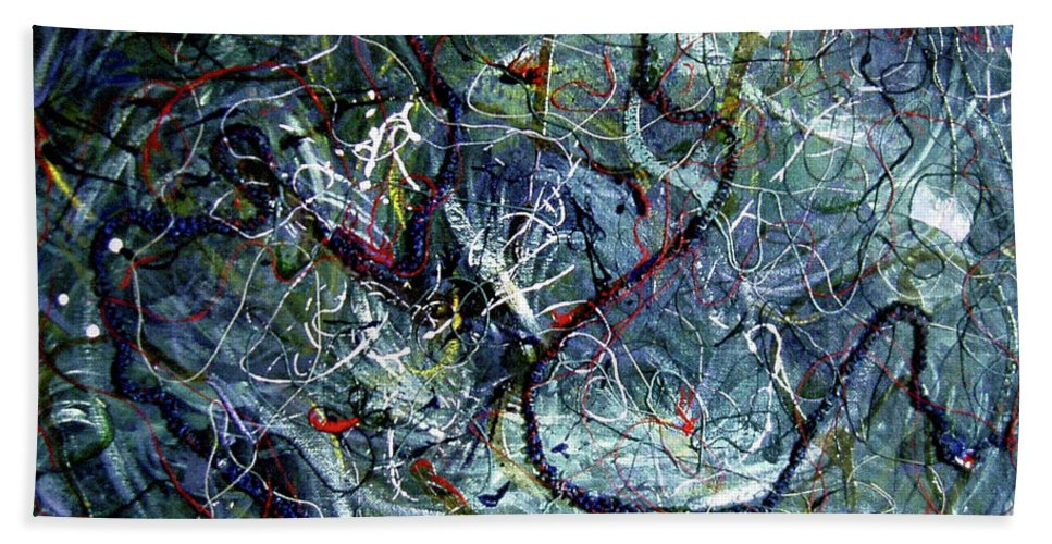 Acrylic Beach Towel featuring the painting Intertwining Paths by Nancy Mueller