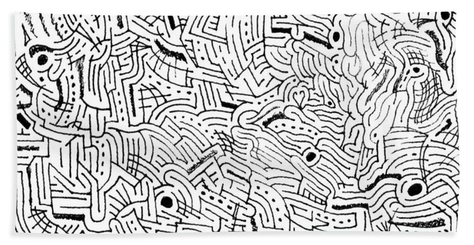 Mazes Beach Towel featuring the drawing Intervolve by Steven Natanson