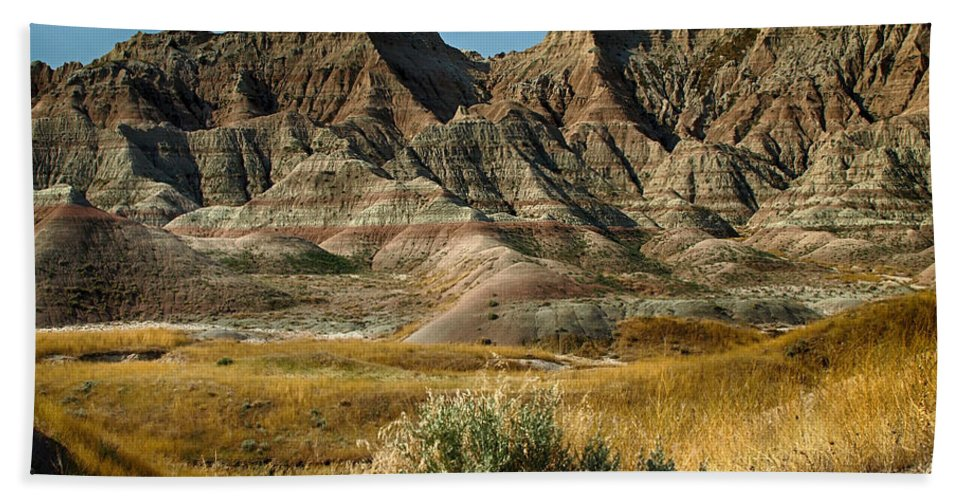 Ann Keisling Beach Towel featuring the photograph Into The Badlands South Dakota by Ann Keisling