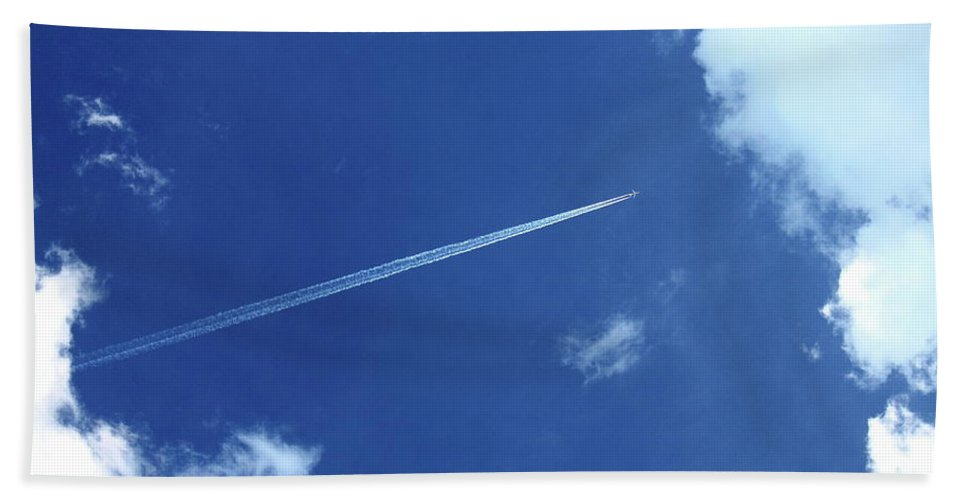Airplane Beach Towel featuring the photograph Into The Clouds by Carol Turner