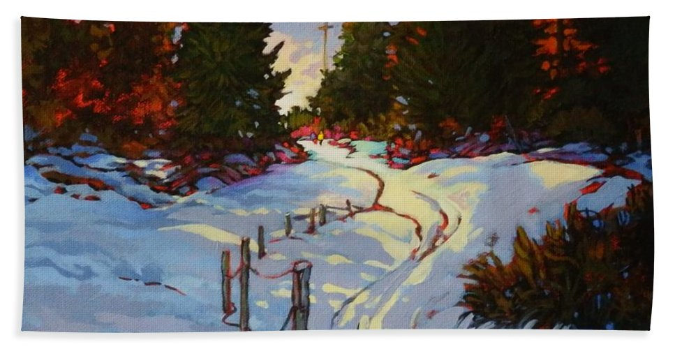 Snow Sunset Sunrise Color Warm Cool Snowy Trees Winter Outdoors Fence Light Evening Beach Towel featuring the painting Into The Light by Catherine Robertson