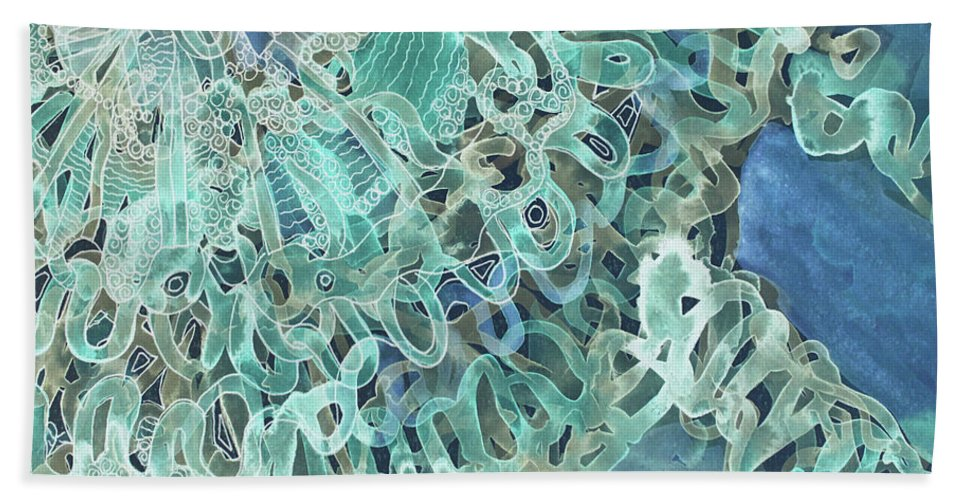 Intuition Beach Towel featuring the digital art Intuition Unraveled Deep Ocean by Lauri Jean