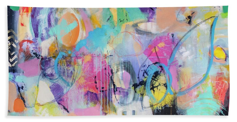 Abstract Beach Towel featuring the painting Intuitive 2 by Florentina Maria Popescu
