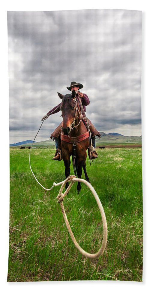 Cowboy Beach Towel featuring the photograph Invisible Calf by Todd Klassy