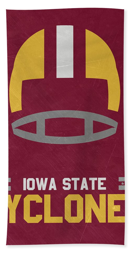 Cyclones Beach Towel featuring the mixed media Iowa State Cyclones Vintage Football Art by Joe Hamilton