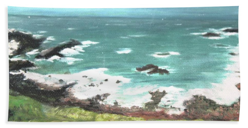 Ocean Beach Towel featuring the painting Ireland by Terry Lewey