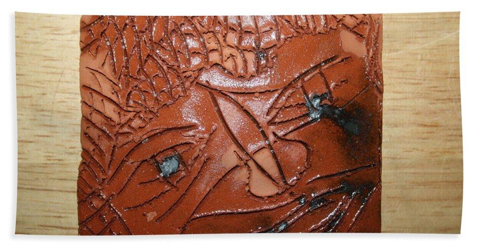 Jesus Beach Towel featuring the ceramic art Irina -tile by Gloria Ssali