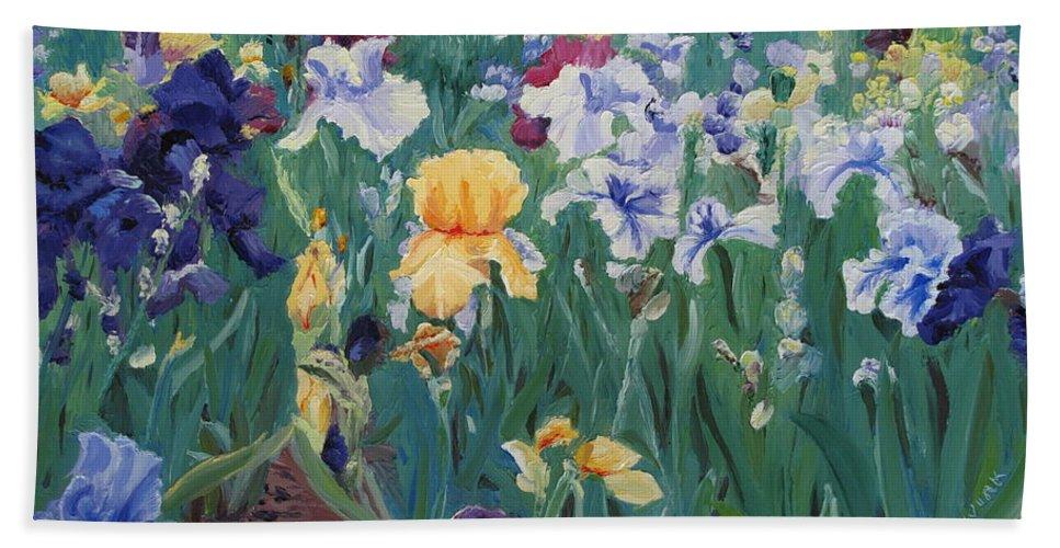 Flower Beach Towel featuring the painting Iris Abun-dance by Lea Novak