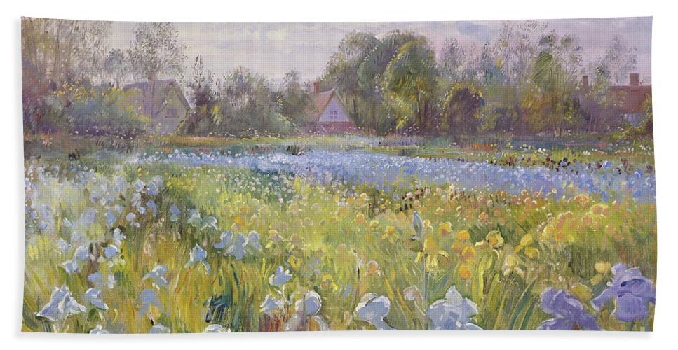 Iris Field In The Evening Light Beach Towel featuring the painting Iris Field In The Evening Light by Timothy Easton