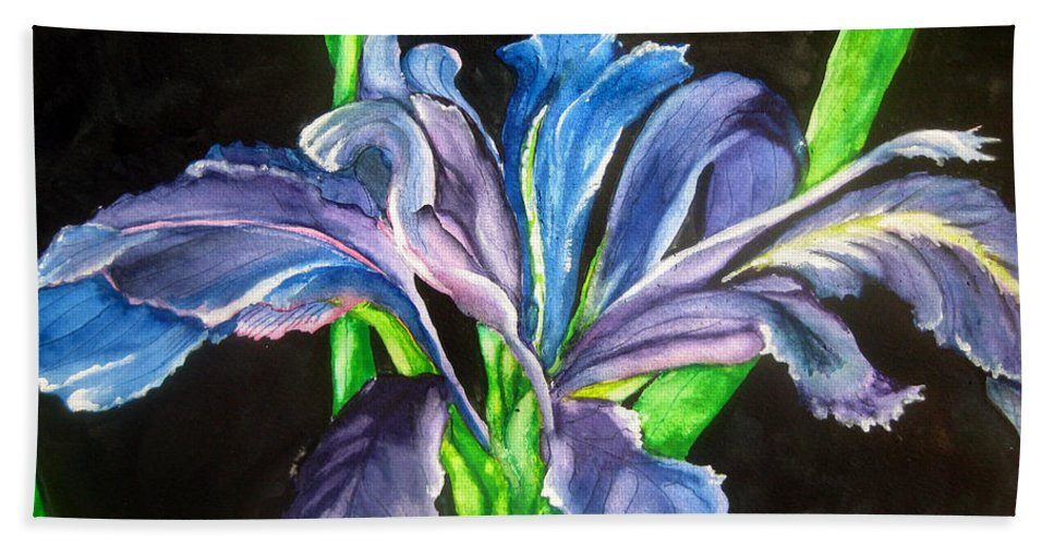 Iris Beach Towel featuring the painting Iris by Lil Taylor