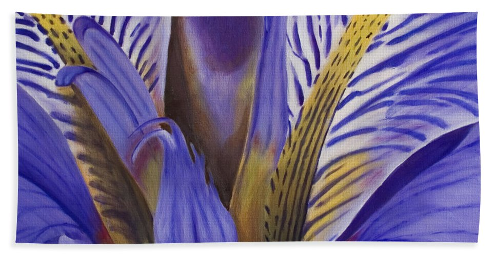 Flower Beach Towel featuring the painting Iris by Rob De Vries