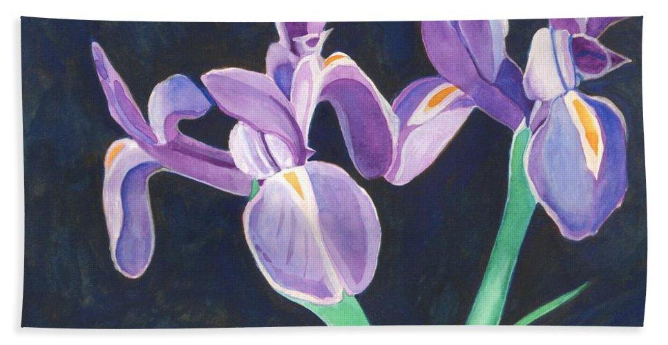 Iris Beach Towel featuring the painting Irises by Helena Tiainen