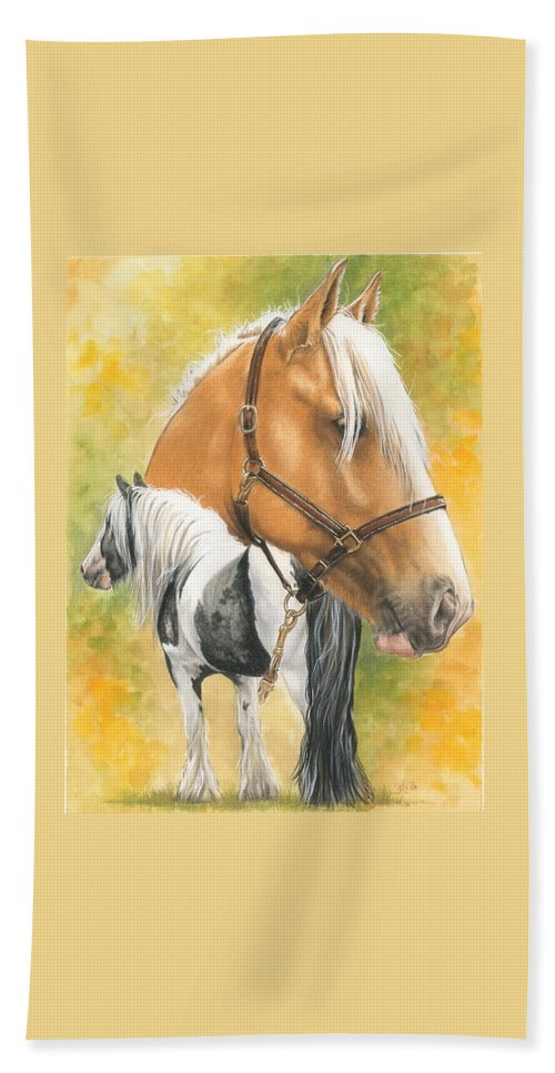 Draft Horse Beach Towel featuring the mixed media Irish Cob by Barbara Keith