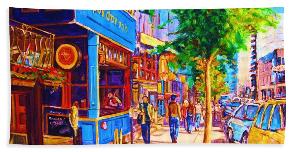 Irish Pub On Crescent Street Montreal Street Scenes Beach Sheet featuring the painting Irish Pub On Crescent Street by Carole Spandau