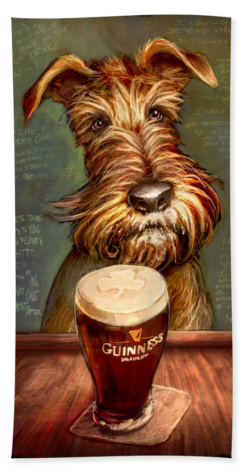 Irish Terrier Beach Towel featuring the painting Irish Toast by Sean ODaniels