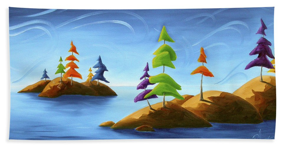 Landscape Beach Towel featuring the painting Island Carnival by Richard Hoedl