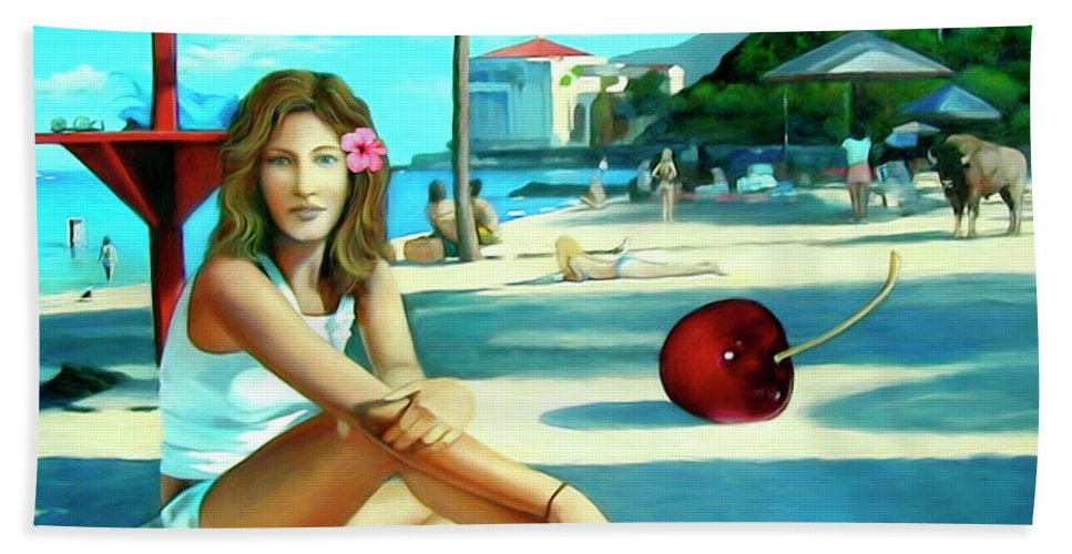 Island Beach Towel featuring the painting Island Girl by Snake Jagger